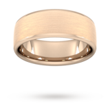 Goldsmiths 8mm Slight Court Heavy Matt Finished Wedding Ring In 18 Carat Rose Gold