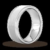 Goldsmiths 8mm Slight Court Heavy Matt Centre With Grooves Wedding Ring In 950 Palladium