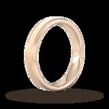 Goldsmiths 4mm D Shape Standard Matt Centre With Grooves Wedding Ring In 9 Carat Rose Gold