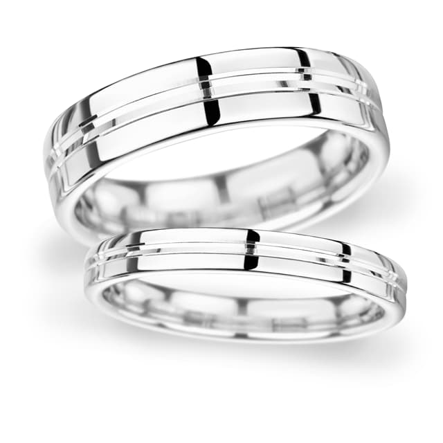 Goldsmiths 6mm D Shape Standard Grooved Polished Finish Wedding Ring In 18 Carat White Gold - Ring Size Q