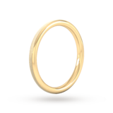 Goldsmiths 2mm D Shape Heavy Matt Centre With Grooves Wedding Ring In 18 Carat Yellow Gold
