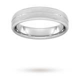 Goldsmiths 5mm D Shape Heavy Centre Groove With Chamfered Edge Wedding Ring In 9 Carat White Gold - Ring Size R