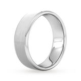 Goldsmiths 7mm D Shape Heavy Polished Chamfered Edges With Matt Centre Wedding Ring In 9 Carat White Gold