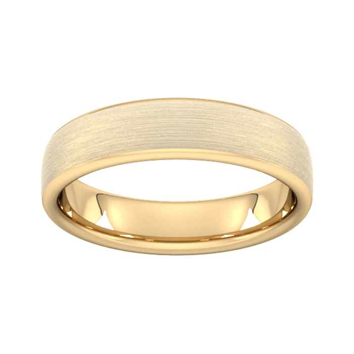 Goldsmiths 5mm Traditional Court Heavy Matt Finished Wedding Ring In 9 Carat Yellow Gold - Ring Size Q