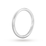 Goldsmiths 2mm Flat Court Heavy Matt Centre With Grooves Wedding Ring In 18 Carat White Gold