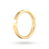 Goldsmiths 3mm Flat Court Heavy Wedding Ring In 18 Carat Yellow Gold