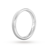 Goldsmiths 3mm Flat Court Heavy Matt Centre With Grooves Wedding Ring In 950 Palladium