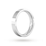 Goldsmiths 4mm Flat Court Heavy Wedding Ring In 18 Carat White Gold