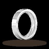 Goldsmiths 4mm Flat Court Heavy Wedding Ring In Sterling Silver