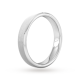 Goldsmiths 4mm Flat Court Heavy Polished Chamfered Edges With Matt Centre Wedding Ring In Platinum