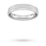 Goldsmiths 4mm Flat Court Heavy Matt Centre With Grooves Wedding Ring In 9 Carat White Gold - Ring Size O