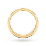 Goldsmiths 4mm Flat Court Heavy Matt Centre With Grooves Wedding Ring In 9 Carat Yellow Gold