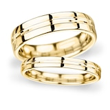 Goldsmiths 5mm Flat Court Heavy Grooved Polished Finish Wedding Ring In 9 Carat Yellow Gold - Ring Size P