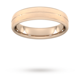 Goldsmiths 5mm Flat Court Heavy Centre Groove With Chamfered Edge Wedding Ring In 9 Carat Rose Gold