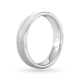 Goldsmiths 5mm Flat Court Heavy Centre Groove With Chamfered Edge Wedding Ring In 18 Carat White Gold