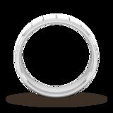 Goldsmiths 5mm Flat Court Heavy Vertical Lines Wedding Ring In 9 Carat White Gold