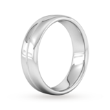 Goldsmiths 6mm Flat Court Heavy Milgrain Centre Wedding Ring In 18 Carat White Gold