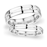 Goldsmiths 6mm Flat Court Heavy Grooved Polished Finish Wedding Ring In 9 Carat White Gold