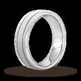 Goldsmiths 6mm Flat Court Heavy Matt Finish With Double Grooves Wedding Ring In 950 Palladium