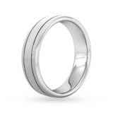 Goldsmiths 6mm Flat Court Heavy Matt Finish With Double Grooves Wedding Ring In Platinum