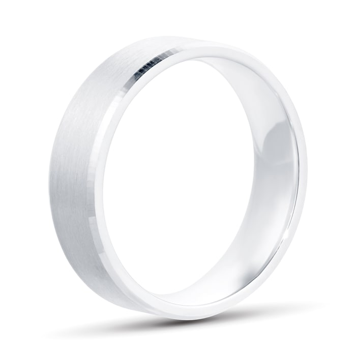 Goldsmiths 6mm Flat Court Heavy Polished Chamfered Edges With Matt Centre Wedding Ring In 9 Carat White Gold