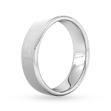 Goldsmiths 6mm Flat Court Heavy Polished Chamfered Edges With Matt Centre Wedding Ring In 18 Carat White Gold