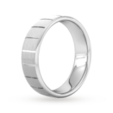 Goldsmiths 6mm Flat Court Heavy Vertical Lines Wedding Ring In 950 Palladium