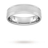 Goldsmiths 6mm Flat Court Heavy Matt Centre With Grooves Wedding Ring In 18 Carat White Gold