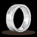 Goldsmiths 7mm Flat Court Heavy Milgrain Centre Wedding Ring In 9 Carat White Gold