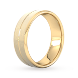 Goldsmiths 7mm Flat Court Heavy Centre Groove With Chamfered Edge Wedding Ring In 9 Carat Yellow Gold