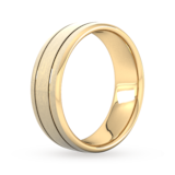 Goldsmiths 7mm Flat Court Heavy Matt Finish With Double Grooves Wedding Ring In 9 Carat Yellow Gold