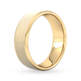 Goldsmiths 7mm Flat Court Heavy Polished Chamfered Edges With Matt Centre Wedding Ring In 9 Carat Yellow Gold