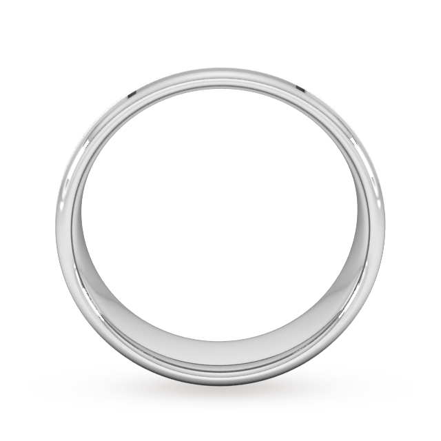 Goldsmiths 7mm Flat Court Heavy Polished Chamfered Edges With Matt Centre Wedding Ring In 18 Carat White Gold