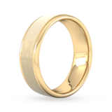 Goldsmiths 7mm Flat Court Heavy Matt Centre With Grooves Wedding Ring In 9 Carat Yellow Gold