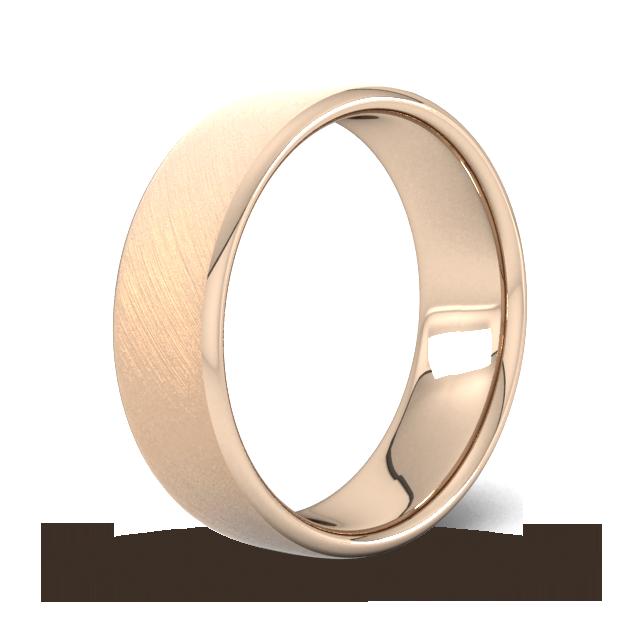 Goldsmiths 7mm Flat Court Heavy Diagonal Matt Finish Wedding Ring In 9 Carat Rose Gold