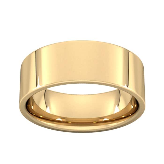Goldsmiths 8mm Flat Court Heavy Wedding Ring In 9 Carat Yellow Gold