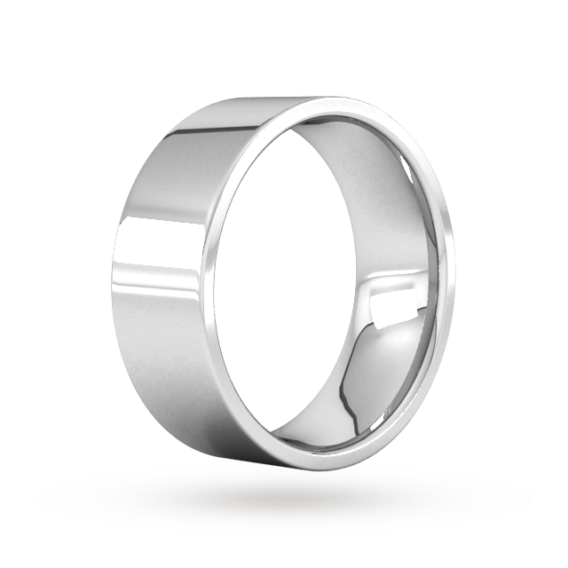 Goldsmiths 8mm Flat Court Heavy Wedding Ring In Sterling Silver