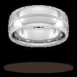 Goldsmiths 8mm Flat Court Heavy Milgrain Centre Wedding Ring In 9 Carat White Gold