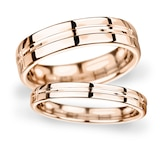 Goldsmiths 8mm Flat Court Heavy Grooved Polished Finish Wedding Ring In 9 Carat Rose Gold