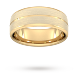 Goldsmiths 8mm Flat Court Heavy Centre Groove With Chamfered Edge Wedding Ring In 9 Carat Yellow Gold