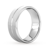 Goldsmiths 8mm Flat Court Heavy Centre Groove With Chamfered Edge Wedding Ring In 950 Palladium