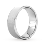 Goldsmiths 8mm Flat Court Heavy Polished Chamfered Edges With Matt Centre Wedding Ring In 9 Carat White Gold