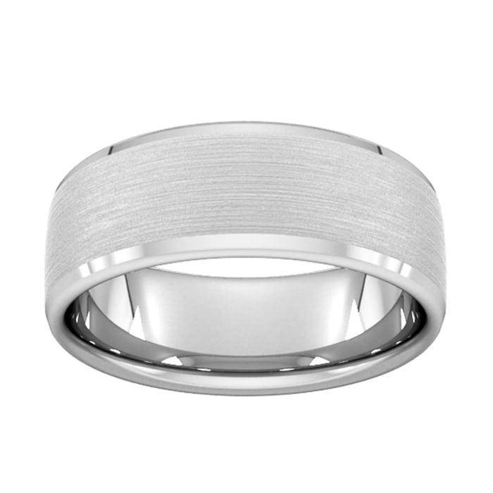 Goldsmiths 8mm Flat Court Heavy Polished Chamfered Edges With Matt Centre Wedding Ring In 950 Palladium