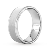 Goldsmiths 8mm Flat Court Heavy Matt Centre With Grooves Wedding Ring In 9 Carat White Gold