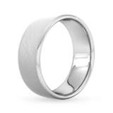 Goldsmiths 8mm Flat Court Heavy Diagonal Matt Finish Wedding Ring In 18 Carat White Gold