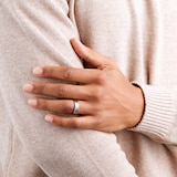 Goldsmiths 6mm Gents Titanium Wedding Ring With A Matte Finish And Engraved Line