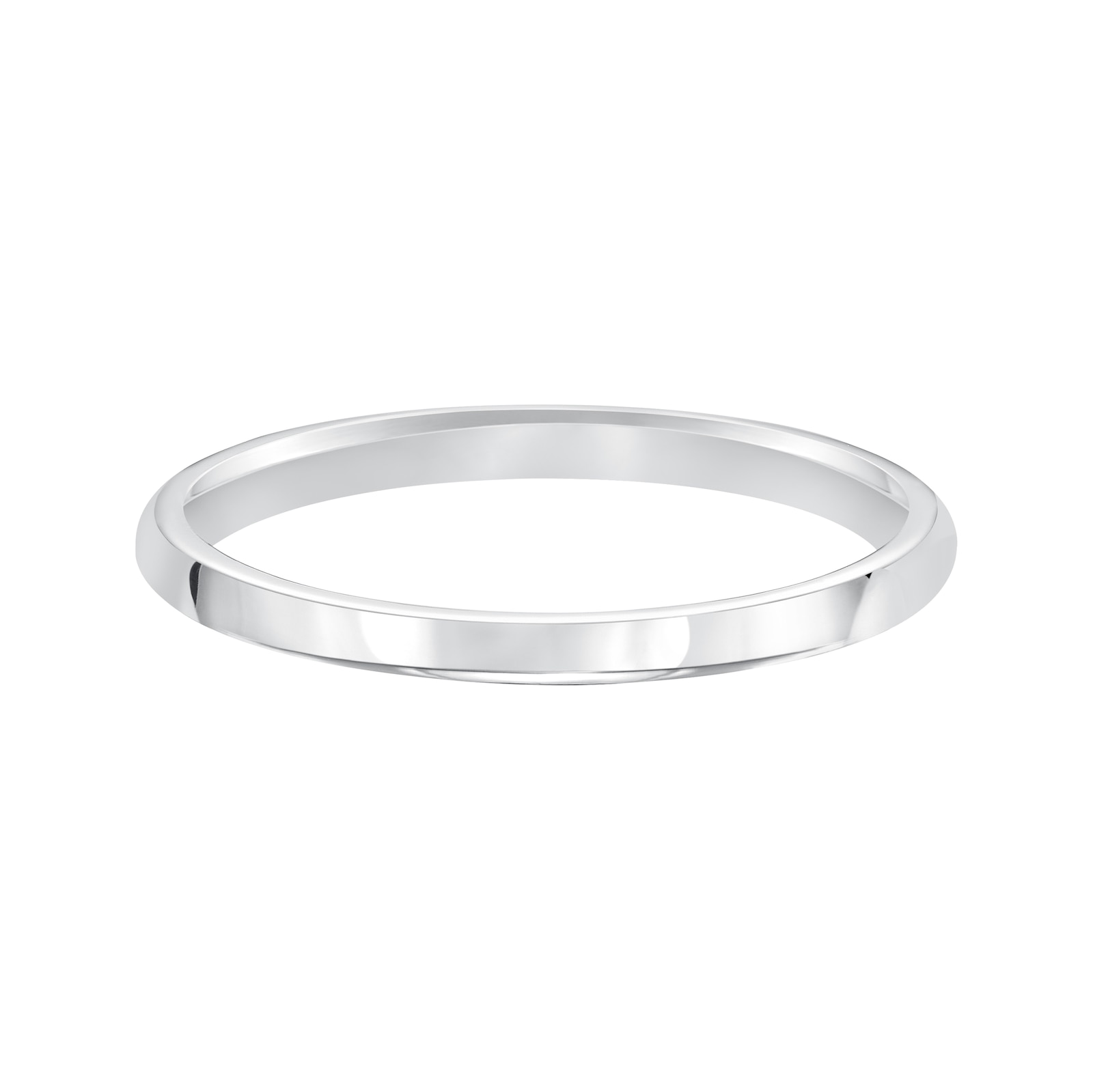 Mayors 18kt White Gold 2mm High Dome D Shape Wedding Band