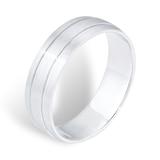 Goldsmiths Platinum Mens 2 Groove Fancy Wedding Ring