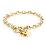 Goldsmiths 9ct Yellow Gold Oval Belcher Heart Tag T-Bar Bracelet
