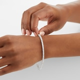Goldsmiths 9ct White Gold 3mm Cubic Zirconia Tennis Bracelet